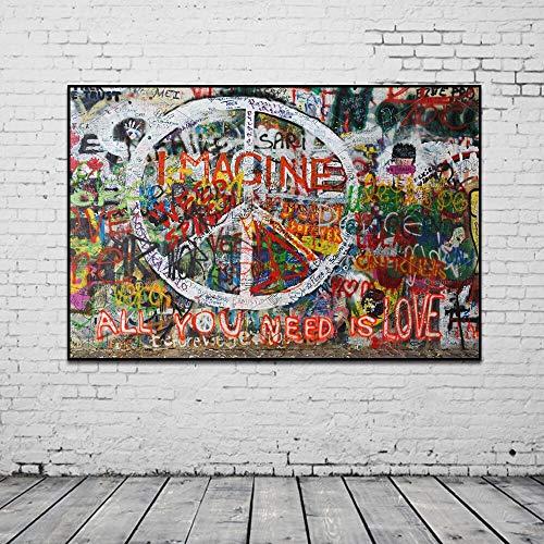 Banksy Graffiti-kunst abstract canvas schilderij posters en afdrukken Alles wat je nodig hebt is liefde Stel je voor, muur canvas kunst salon wooncultuur 50X70CM T