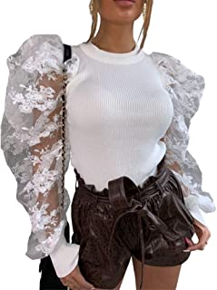 IyMoo Peplum Tops for Women - Pullover Sweaters Long Sleeve Bodysuit Round Neck Puff Sleeve Elegant Blouse