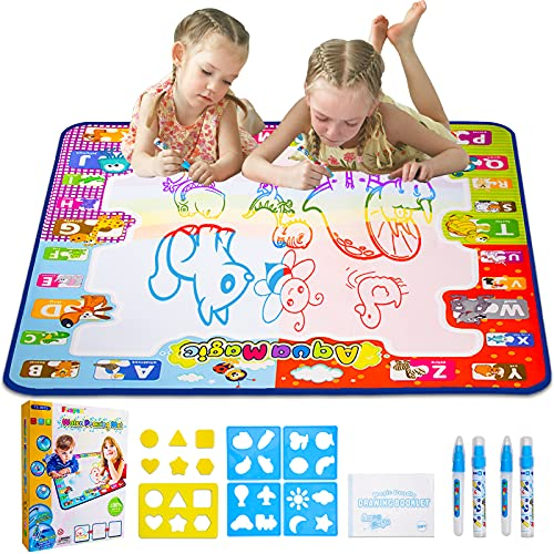 Foayex Water Drawing Mat, Magic Doodle Aqua Mat for Painting Coloring & Mess Free, Educational Toys Arts and Crafts for Toddlers, Birthday Gifts for 2 3 4 5 Year Old Girls Boys(30.7x30.7 inches)