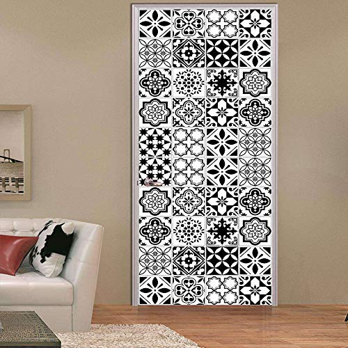 Etiqueta De La Puerta 3D Azulejos de imitación en blanco y negro calcomanía Baño Sala de estar Dormitorio pegatinas de puerta 77x200cm
