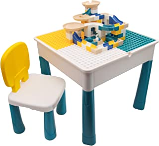 Jollyfit Kids Activity Table and chair set, Toddler Play Table Set with Storage, Sand Table and Water Table with 90 Pcs Bu...
