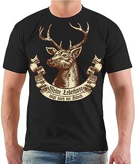 Shirt Herren Herrenshirt Trachtenhemd Grau Freizeit Business Hirsch Baumwolle