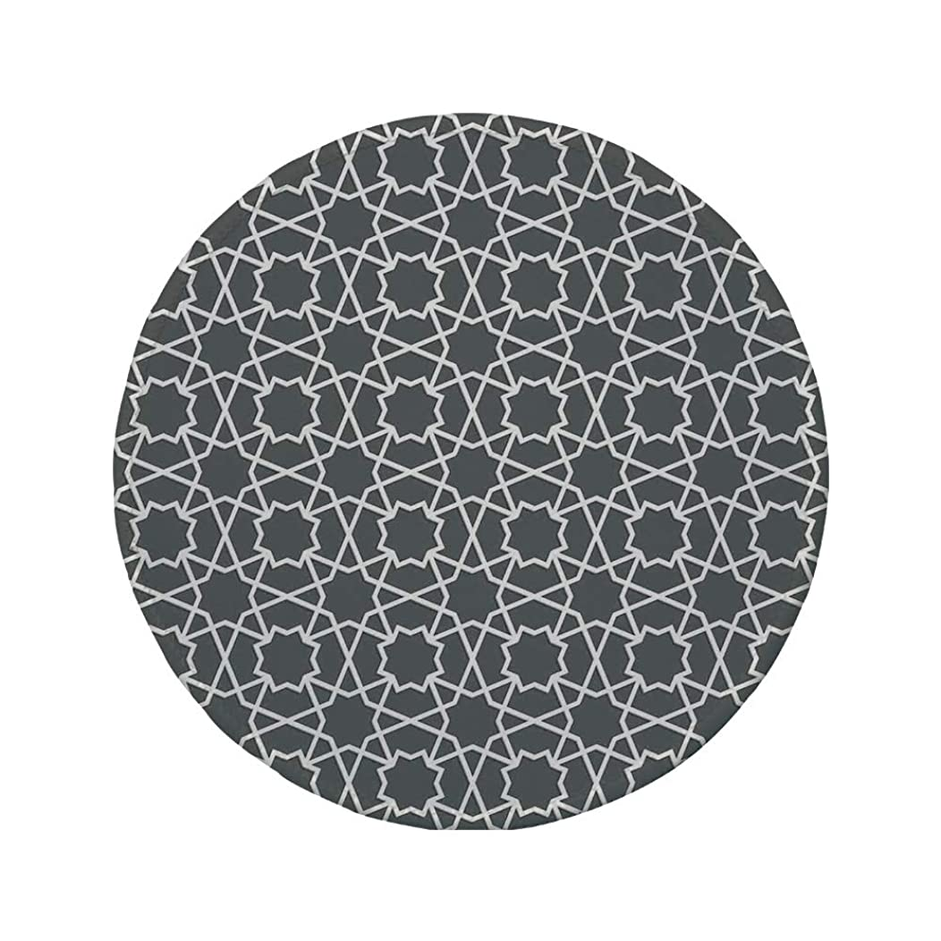 Non-Slip Rubber Round Mouse Pad,Arabian,Geometric Pattern in Arabian Style Islamic Architecture Classic City Buildings,Charcoal Grey,7.87