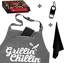 Chef Apron for Men, Cooking Apron, Funny Apron, BBQ Apron, 3 Pockets, Bottle Opener, Towel and Gift Box Included, Gray 100% Cotton Durable Professional Quality