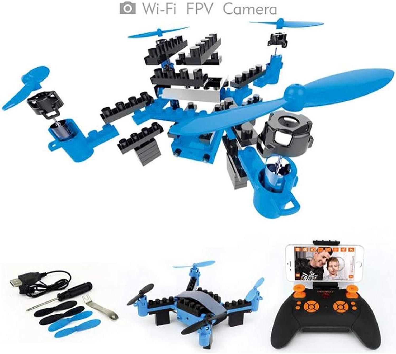 H_y Mini Fernbedienung Drohne, Montage DIY Bausteine Hhe Halten WiFi Junge Spielzeug Flugzeuge Luftaufnahmen 6-Achsen Gyro Drohne,Blau