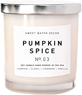 Pumpkin Spice Soy Wax Candle White Jar Silver Lid Scented PSL Pie Wood Bark Buttercream Fall Autumn Cinnamon Cloves Vanilla Scent Lead and Gluten Free Cotton Wick Made in USA Sweet Water Decor