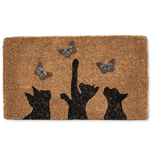Abbott Collection Cat & Butterfly Home Décor Door Mat, Cat...