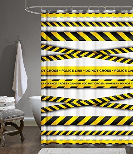 Ekershop Digitaldruck Qualität Textil Duschvorhang Wannenvorhang Police LINE 120x200cm inkl. Ringe