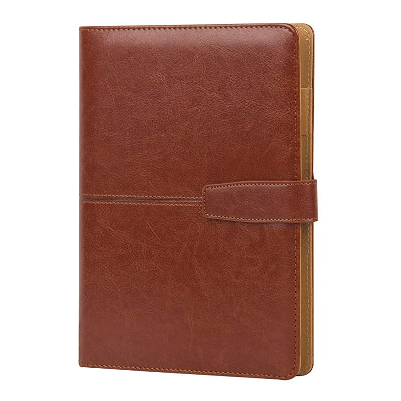 Business Leather Notebook, The Cover Adopts The Fashion PU Leather, With The Card Bag Inside, Easy To Travel, Inside The Inner Core Of The Circular Ring. (Red Brown)
