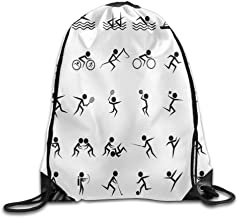Mochila con cordón, Mochila Deportiva, Mochila de Viaje,Olympics Summer Sport Icons Collection of Boating Boxing Swimming Weightlifting Shooting Bags Running Gym Backpack