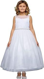 fa2739c5d Kids Dream Big Girls White Lace Sweetheart Illusion Communion Dress 8-18