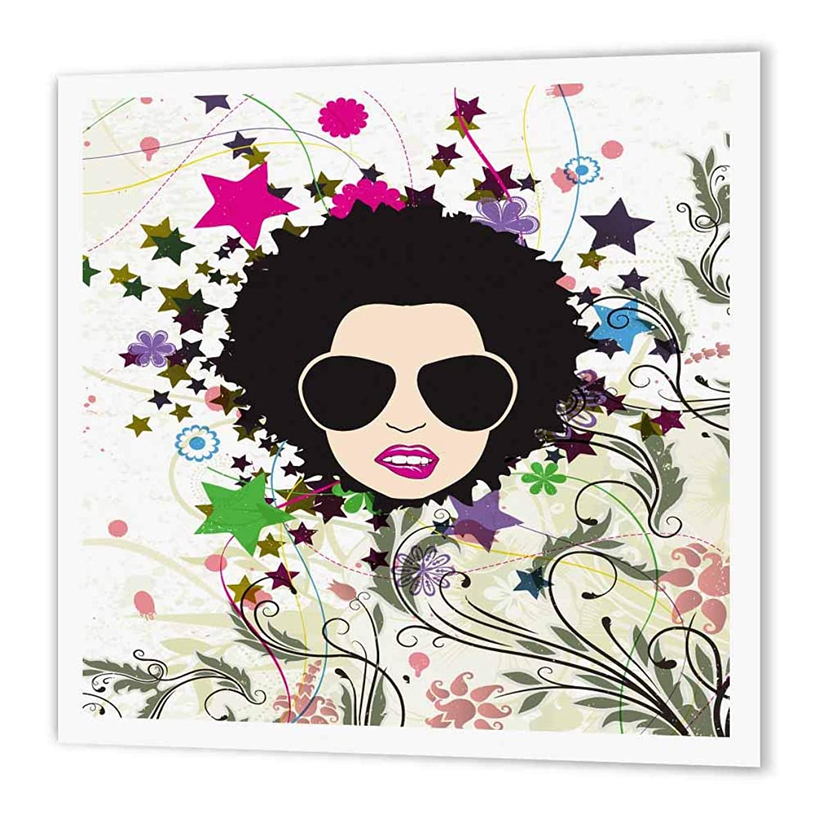 3dRose ht_119075_1 Urban Grunge Pop Art Floral Bliss Attitude Diva Girl with Afro & Shades Modern Vector Art Iron on Heat Transfer Paper for White Material, 8 by 8