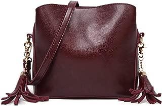 Sturdy Handbag Adjustable Shoulder Strap Messenger Handbag Women's Retro Bucket Handbag Solid Color Fashion Tassel PU Shoulder Handbag Large Capacity (Color : Dark Brown)