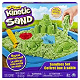 Kinetic Sand, Sandbox Playset with 1lb of Green and 3 Molds, for Ages 3 and Up