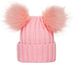 Beautyfine Look! Casual Knit Hat Beanie Hairball Baby Boys Girls Winter Solid Color Warm Cap
