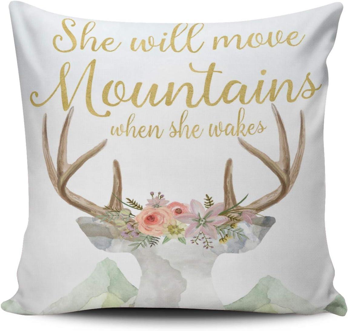 DOUMIFA Home Throw Pillow Case specialty shop Gold Move Boho Max 72% OFF Bab Mountains Deer