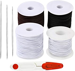4 Pieces Elastic Cord with Big Eye Beading Needle Bracelet Beading Thread String Rope Black White Coffee for Jewelry Bracelets Necklaces Beading Making Hair Ties DIY Crafts