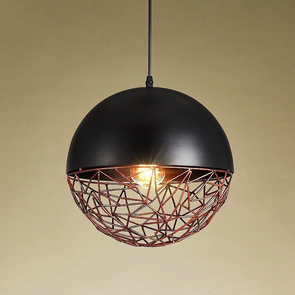 Pointhx Tradicional clásico esférico hierro hueco arte colgante de luz de alto brillo E27 Edison lámpara colgante de techo accesorios de iluminación para garaje granero escalera del sótano: Amazon.es: Hogar