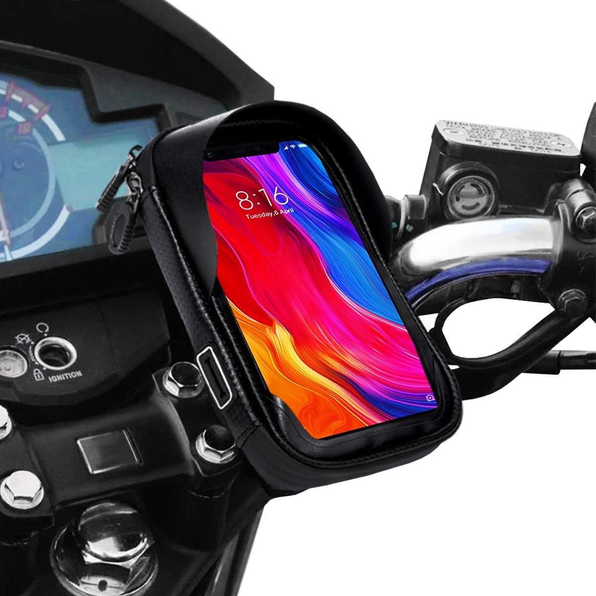 Soporte movil moto impermeable con cargador rapido telefono movil funda impermeable compatible con smartphones de hasta 6.9