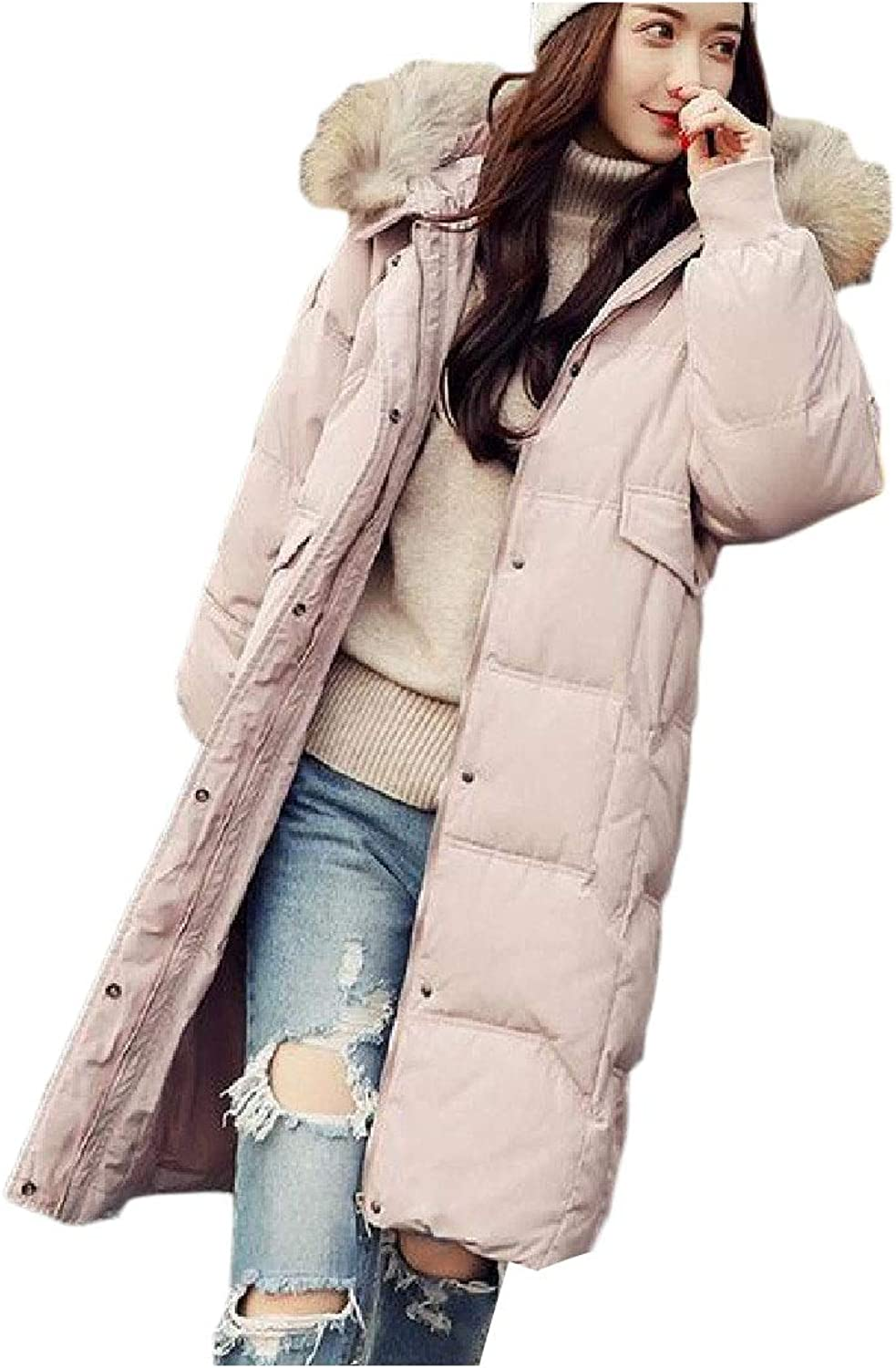 Cobama Women Thick Faux Fur Collar Mid Long Down Jacket Packable Outwear