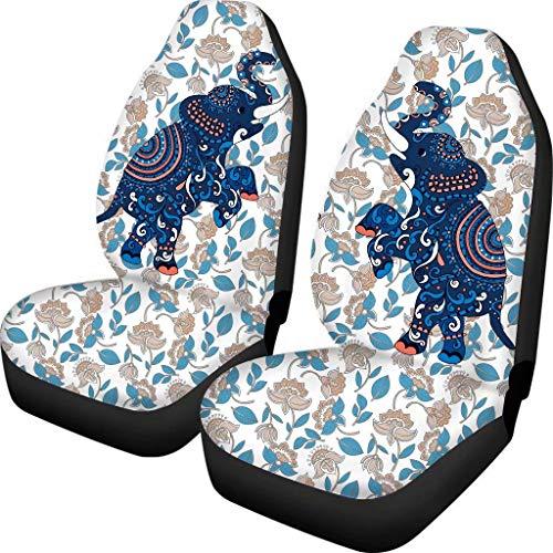 Advocator Bohemian Mandala Indian Elephant Car Seat Cover 2 Pcs Front Saddle Blanket Universal Fit for Most SUV,Sedan,Van,Truck