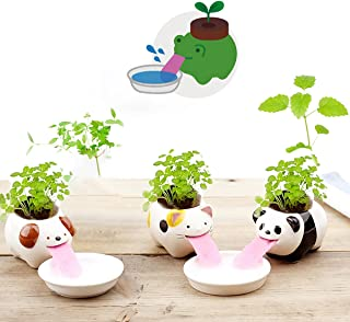 3 Pack Cute Animal Self Watering Planter Pots, Cute Tongue Animal Planters Ceramic Plant Pot for Indoor Outdoor Decoration...