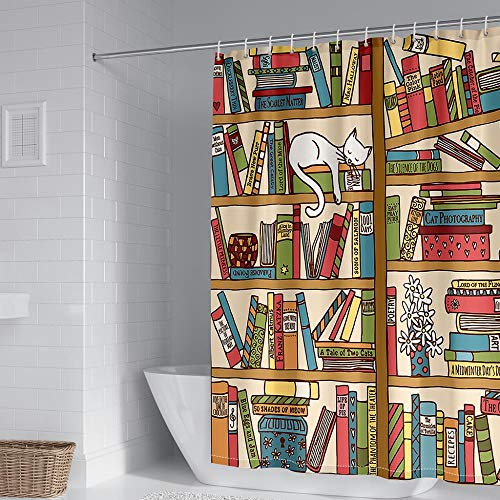Shower Curtains 100% Polyester Bookshelf Shower Curtains Mould Proof Resistant Machine Washable Anti Mould Waterproof Weighted Hem With 12 Hook Rings For Bathtubs And Bathrooms 240X180 Cm