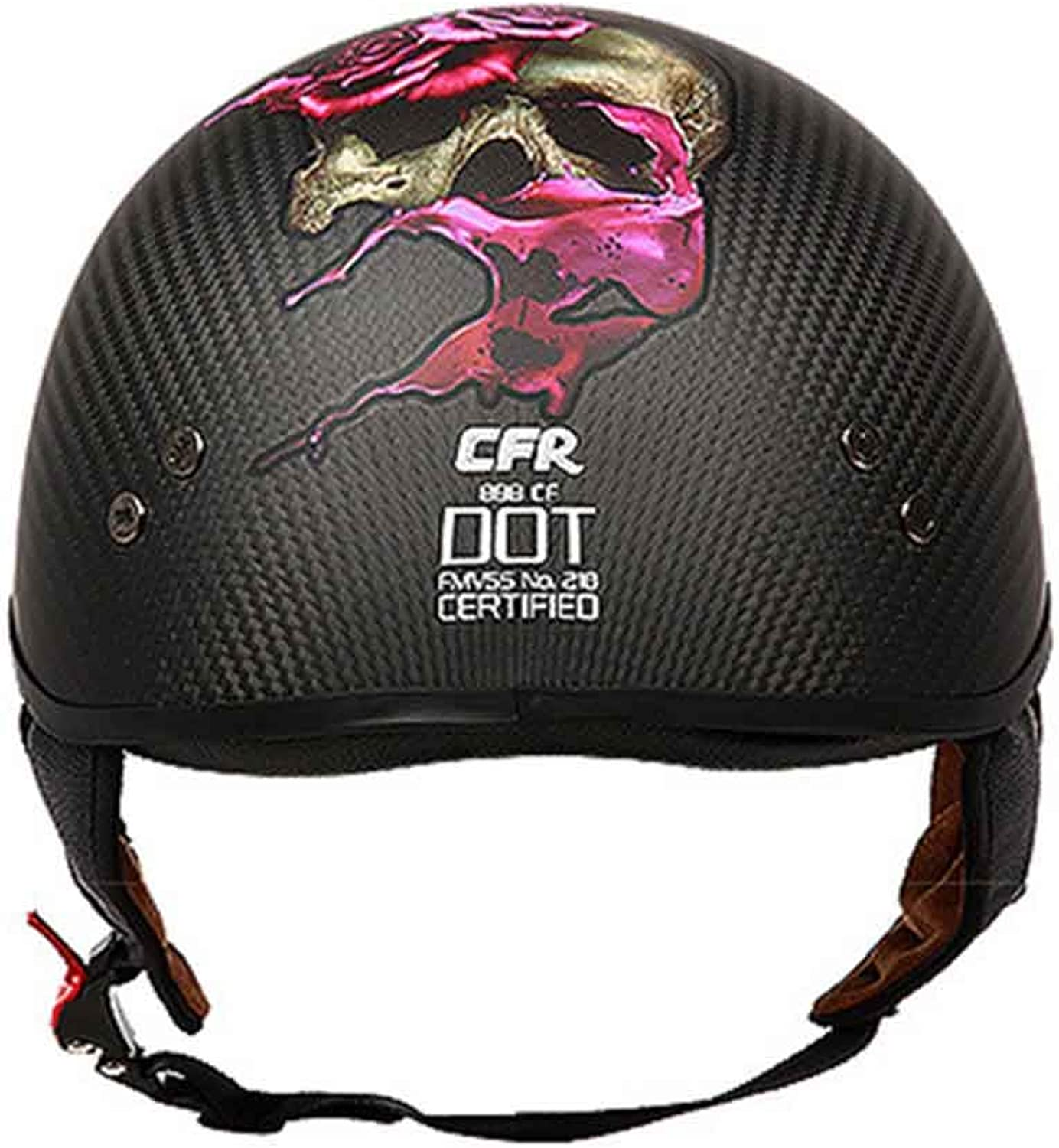 Retro Cycling Helmet Motorcycle HalfCovered Carbon Fiber Half Helmet Four Seasons Universal Riding Helmet Unisex