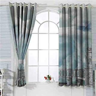 Mystic House Decor Collection Backdrop Curtain for Bedroom Decor Balcony in the Sky with Angel Statues Princess Castle Victorian Style Architecture Soundproof Privacy Window Curtains W96 x L96 Inch B