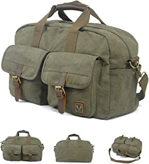 Large Capacity, Waterproof and Wearable Duffel Bag, Retro Multi-Functional Canvas Shoulder Bag, Work Bag, Handbag, 19 Inches, Classic Multi-Color Optional, Travel Storage Essential, (Color : Green)
