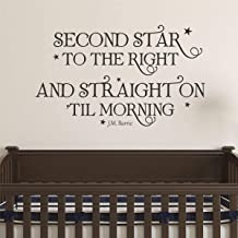 Wall Quote Decal Second Star to The Right Peter Pan Neverland Nursery Quote Kids Wall Art Decor Vinyl Wall Decal