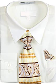 Men's Basic Dress Shirt with a VARYING Print Tie and Hanky Set