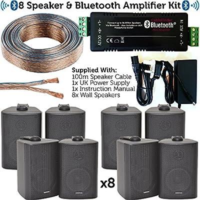 Bar & Restaurant Bluetooth Speaker Kit – 8x 60W Black Wall Mounted Satellite/Corner Speakers & Amp Amplifier – Wireless Background Music – Pub, Club, Shop, Café, Office – Loops from Loops
