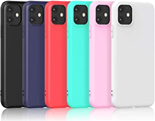 [6 Pack] Case for iPhone 12 Pro Max Cover Ultra Thin Soft TPU Silicone Gel Phone Case with Matte Finish Coating Grip Anti-...