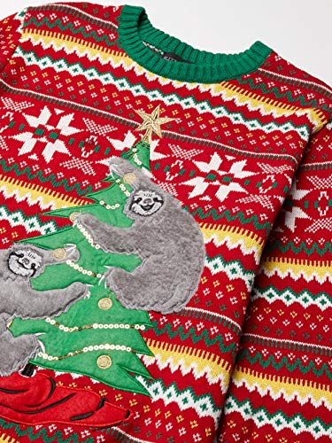 Blizzard Bay Men's Decorating Sloths Ugly Christmas Sweater, Red/Green, Large