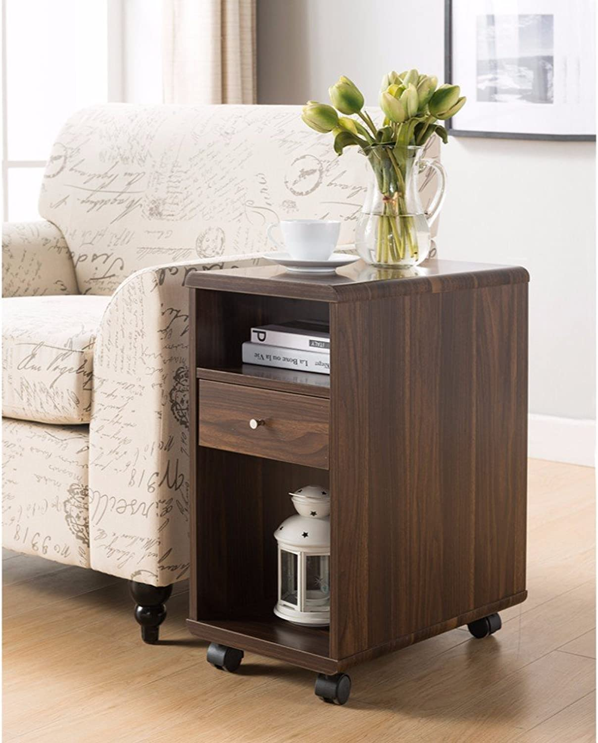Benzara BM148900 Wooden Chairside Table with Castors, One Size, Brown