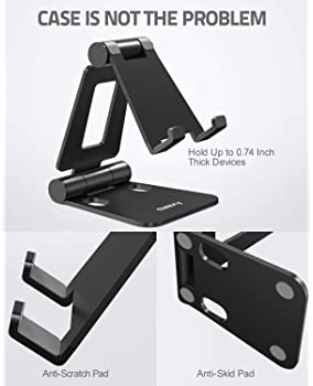 Nulaxy A4 Cell Phone Stand, Fully Foldable, Adjustable Desktop Phone Holder Cradle Dock Compatible with Phone 11 Pro ...