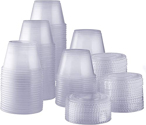 [200 Sets - 4 oz.] Plastic Disposable Portion Cups with Lids, Souffle Cups, Jello Cups