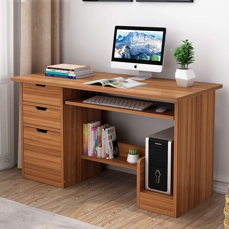 家用书架台式电脑桌学生寝室双层书架木质办公桌简易经济型小桌子省空间卧室写字桌柜子抽屉作业桌 (C款120cm浅胡桃色)