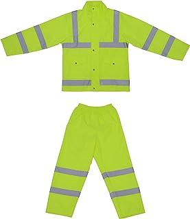 HYSENM Set tuta antipioggia riflettente giacca antipioggia/pantaloni catarifrangenti Hi-Vis impermeabile con cappuccio per...