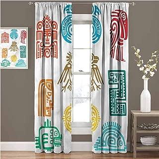 GUUVOR Mesoamerican Premium Blackout Curtains Ancient Maya Symbols Kindergarten Noise Reduction Curtains W84 x L84 Inch