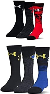 Under Armour Boys Phenom Curry Crew, Red and Royal (3 Pack)
