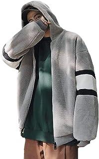 PIITE 綿服 メンズ アウター 冬 中綿コート もこもこ ブルゾン ジャンパー 厚手 防寒着 トップス ゆったり フード付き ジャケット ブルゾン バイカラー 学生 韓国ファッション