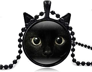 Cute Black Cat Art Picture Pendant Statement Chain Necklace by Vibola