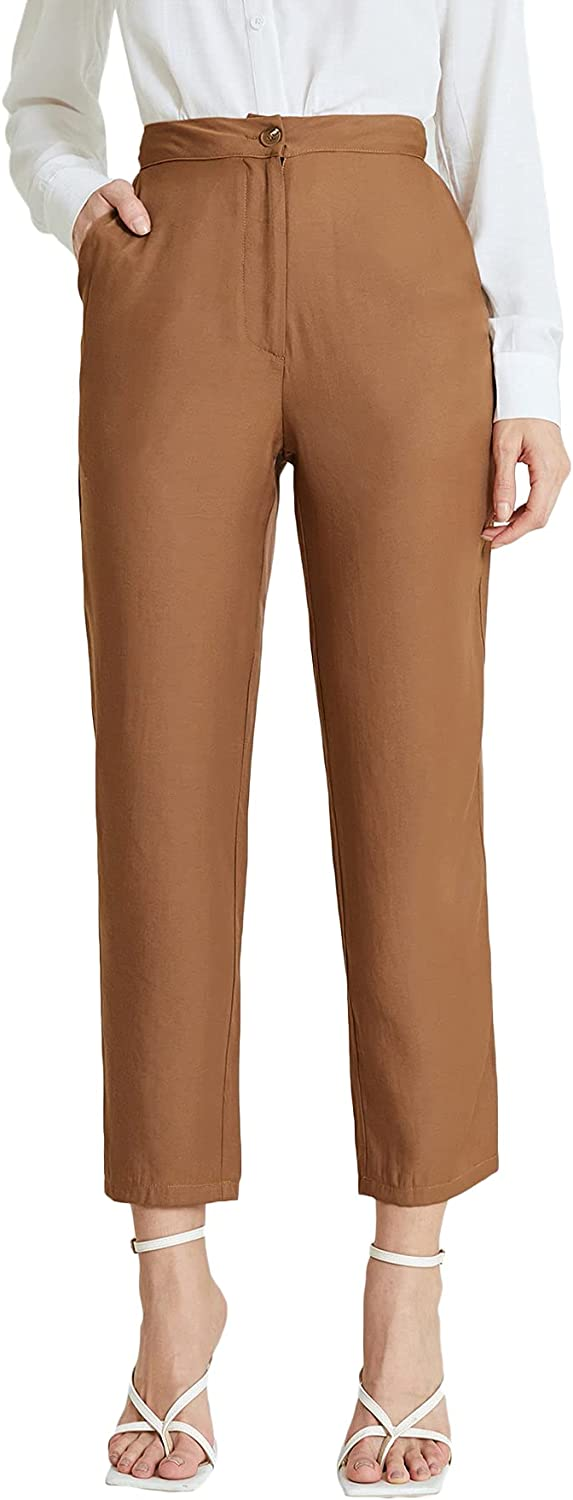 Milumia Women High Waisted Solid Work Pants Button Zip Front Crop Pants with Pocket