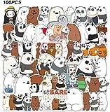 WayOuter We Bare Bears Pegatinas 100 Piezas Pegatinas de Anime para niños monopatín portátil Pegatina Impermeable para Coche