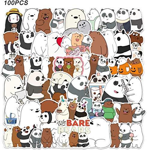 WayOuter We Bare Bears Aufkleber 100 Stück wasserdichte Graffiti Aufkleber für Auto, Moto, Helm, Fahrrad, Laptop, Skateboard, Gepäck
