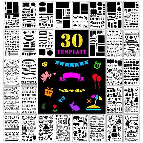 Fansteck 30pcs Stencil Bullet Journal disegna in più di 1000 Modelli Diversi Pattern Disegno per Notebook/diario/Scrapbooking per Bambini e Adulti con Un Sacchetto di immagazzinaggio