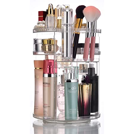 JSBelle Organizador de Maquillaje, 360 Grados de rotación Organizador de Maquillaje Caja