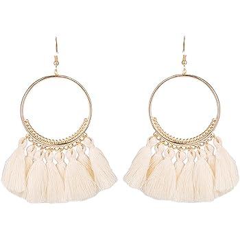 Leisial™ 1 Paare Damen Round Ohrringe Lange Ohrhänger mit Quasten Ohrringe Weiss 8.5CM
